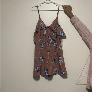 Floral romper with zipper